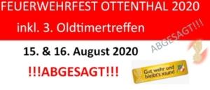 ABSAGE Feuerwehrfest 2020!